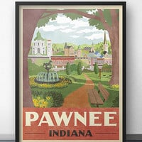 Pawnee Travel Poster - Inspired by Parks and Recreation