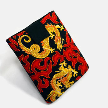 Handcrafted Tablet Case from Asian Dragon Print  Fabric /  Case for iPad,  Kindle Fire HD, Google Nexus , Samsung Galaxy Tab