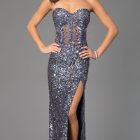 Strapless Sweetheart Sequin Dress by Primavera