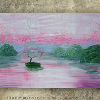 "Big wall art Pink and green painting ""Cherry blossom 32""  Original Acrylic Huge painting on unstretched canvas by KSAVERA decor for bedroom"
