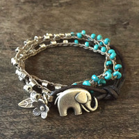 Elephant, Crochet Bracelet Knotted Wrap Rustic Silver Turquoise Bohemian Beaded Jewelry by Two Silver Sisters