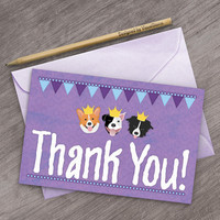 Purple Dog Thank You Cards for Birthday Parties, Printable Crown Prince Dogs, Digital Dog Party Thank You Note Cards Pitbull Corgi Collie