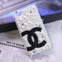 Handmade iPhone case, iPhone 4 case, iPhone 4 cover, iPhone 4S case pearl double c