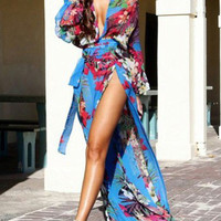 Blue Floral Deep-V Neck Split Front Long Sleeve Maxi Dress