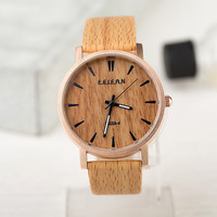 New Simulation Wood Watch Men Casual Wooden Color Leather Strap Watch Wood Male Wristwatch Relogio Masculino
