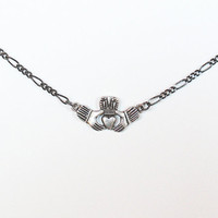 """Pewter Claddagh Charm on 18"""" Gunmetal Chain Necklace"""