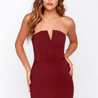 Asymmetry in Motion Wine Red Bodycon Dress