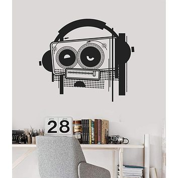 Wall Decal Tape Recorder Music Headphones Cool Room Decor Vinyl Mural Unique Gift (ig2877)
