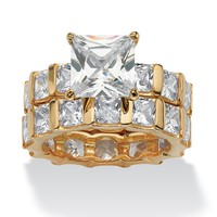 12.67 TCW Princess-Cut Cubic Zirconia 18k Gold over Sterling Silver Eternity Wedding Band Set