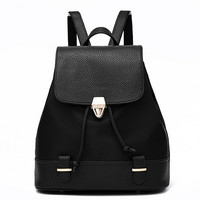 Fashion Black Canvas Leather Backpack Totes