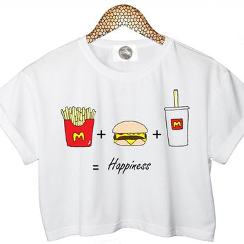 FAST FOOD T SHIRT BURGER COKE CAN CHIPS CROP TOP HIPSTER TUMBLR CARA SWAG FUNNY