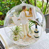 """Wedding Cake Topper Terrarium ~ Bride and Groom Cake Topper ~  Beach Wedding Decor ~ Air plants ~ 8"""" Glass Globe ~ Remember Your Special Day"""