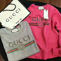 GUCCI HOT SALE Round neck letters printed long sleeve sweater-6