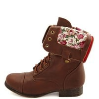 Floral-Lined Zip-Back Combat Boot: Charlotte Russe