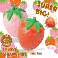 12CM Jumbo Cute Strawberry Phone Straps Squishy Slow Rising Pink Red Straps Sweet Cream Charms Pendant Bread Kids Toy Gift