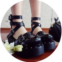 Womens Real Leather Punk Gothic Platform Lolita Cosplay Ankle Cross Strappy Boots Shoes Platform Girls