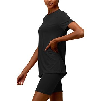 Active Sports Wear Stretchy Short Sleeve Top and Biker Short Set