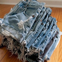 14.99 SALE-Mystery DISTRESSED High Waisted Shorts, Sexy Denim Cutoffs
