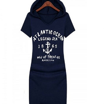 One Size Graphic Short Sleeve Women's Dress with Hood