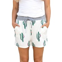Chicloth Blooming Cactus Print White Casual Shorts