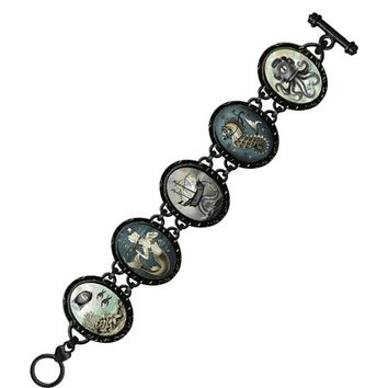 Bonni Reid (Aquatic) Victorian Oval 5 Link Bracelet In Black Enameled Metal | Thirteen Vintage