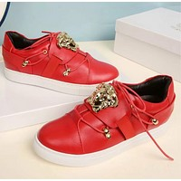 Versace Fashion new running sports women and men shoes Red