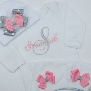 Personalized Monogramed Baby Girl Pink and Grey Layette Homecoming Gown Set