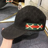 GUCCI New fashion stripe more letter fisherman hat cap Black