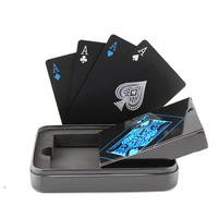 Tinplate Box-packed Plastic PVC Black Poker Playing Cards Novelty High Quality Collection Board Game Gift Durable Fastness