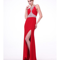 Red & Silver High Slit Embellished Gown 2015 Prom Dresses