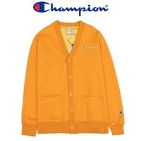 Champion New fashion embroidery letter couple long sleeve coat cardigan Yellow