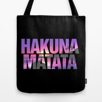 Hakuna Matata Vintage Beach Sunset Tote Bag by RexLambo