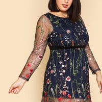 Embroidered Mesh Overlay Fit & Flare Dress