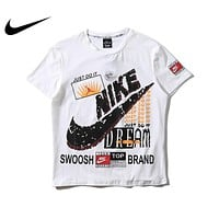 Nike JUST DO IT Summer Women Men Personality Print Cotton T-Shirt Top Blouse Black