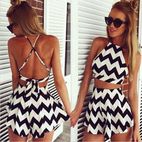 Sexy two-piece design Black and white stripes dresses WOUY