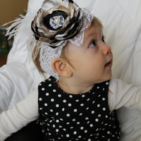 NEW YEAR'S EVE black, gold and silver flower headband for newborn-toddler-child-girl-special occasion