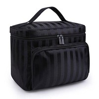 DRQ Large Cosmetic bags-Multifunction Portable Travel Toiletry Bag Cosmetic Makeup bags with Mirror for Women Skincare Cosmetic Pouch Organizer (A Type-Black)