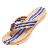 Big Size 36-45 Men Flip Flops Wood Slippers Mules Clogs Summer Lovers Couple Slides Male Casual Beach Sandals Sandalias