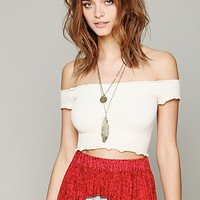 Free People Womens Smocked Crop Top