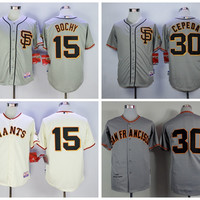 San Francisco Giants 15 Bruce Bochy Jersey SF 1962 Cooperstown 30 Orlando Cepeda Baseball Jerseys Throwback Cool Base Flexbase Grey Beige
