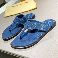 LV Louis Vuitton new product stitching color men's and women's casual sandals beach slippers flip-flops Blue