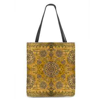 Bohemian Tote Bag in gold with lace pattern