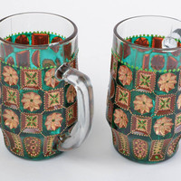 Handmade decorative glass beer mug with acrylic dot painting green and brown