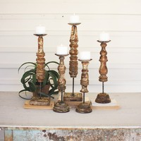 Repurposed Wooden Finial Candle Stands (Set of 5)