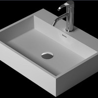 Rectangular Bathroom Counter Top Vessel Sink Cloakroom Matt Solid Surface Stone RS38343-649