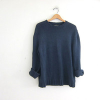 vintage blue gray sweater. oversized slouchy pullover sweater. cotton sweater size M