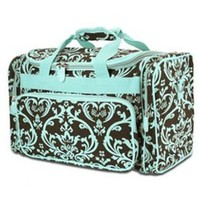 Damask Print Duffle - Dance Cheer Gym Pageant Travel Bag (Brown/Turquoise)