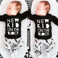 2017 New Fashion baby boy clothes unisex infant clothes long-sleeved T-shirt+Creative pants newborn baby girl clothing set