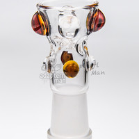 water bong bowl 14mm female glass fittings glass bowl bong replacement built in pinch screen amber - Adapterrlman