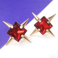 Rocker Chic Red Rhinestone and Spiked Cross Stud Earrings on Gold